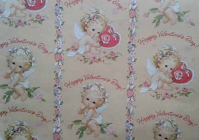 """Vintage Ruth Morehead VALENTINE'S DAY ANGEL CHERUB Gift Wrapping Paper 30"""" x 20"""""""