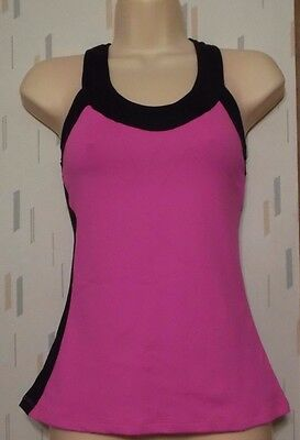 Leapin' Leotards  Adult Medium Bright Pink w Black Dance Top Shirt
