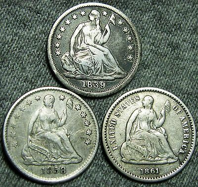 1839 +1858-O +1861 Capped Bust Half Dimes --- NICE LOT --- #T451