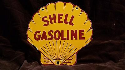 Vintage Shell Gasoline Porcelain Motor Oil Gas Service Station Pump Plate Sign