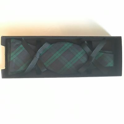 David Donahue Bow Tie Formal Silk Adjustable Plaid Green Navy Black Gift Box New