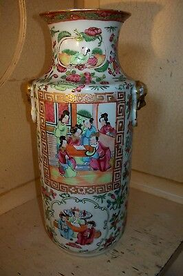 """ANTIQUE 19th CENTURY QING DYNASTY CHINESE FAMILLE ROSE CANTONESE VASE 12"""" high"""