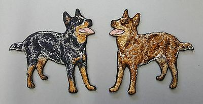 """2 Australian Cattle Dogs, Embroidered Patches 3.7"""" Tall"""