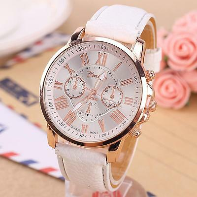 Fashion Women's Leather Stainless Steel Dress Quartz Analog Wrist Watches hot HW