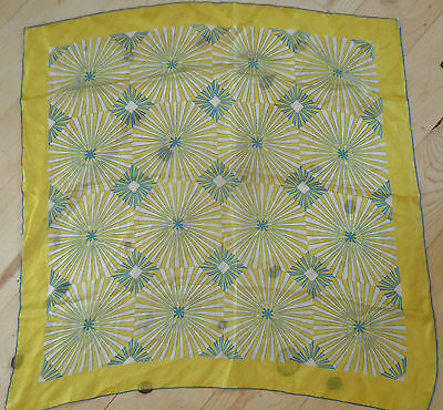 Vintage Yellow Pure Hand Rolled  Silk Scarf Japan Scarve