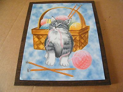 """CAT kitten basket yarn country primitive cats art home decor plaque sign 9x11"""""""