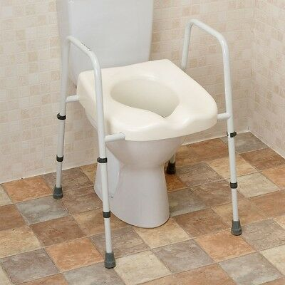 Mobility Toilet Seat Disability Support Frame Portable WC Chair Handles Raised