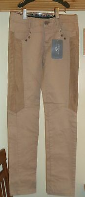 Zara Kids Brown Stretch Cotton Straight Leg Pants/w Suede Patches Nwt Sz 9-10
