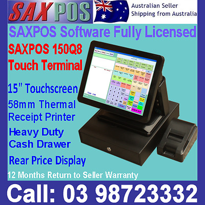 SAXPOS 150Q8 All in One Point of Sale POS System + Rear Price Display + Software