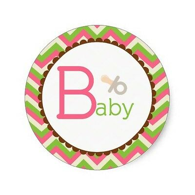 Set Of 12 Pink And Green Chevron Baby Girl Cake Bags
