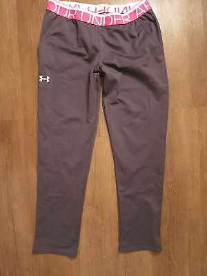 Under Armour Girl's Gray/Pink/White Loose Athletic Sweat Pants, Sz YLG