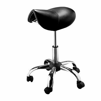 NEW Black Saddle Stool Hair Stylist Salon Hairdresser Chair Wheels Adjustable