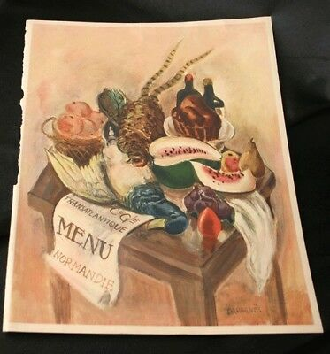 FRENCH LINE SS NORMANDIE Breakfast Menu Cover Only