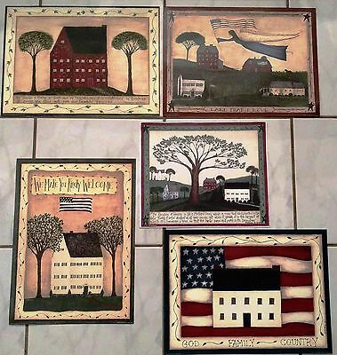 Primitive Americana Cindy Shamp Folk Art Prints Country Set of 5 Unframed RARE