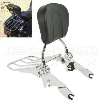 Chrome Backrest Sissy Bar w/ Luggage Rack For Harley Touring 09-17 Electra Glide