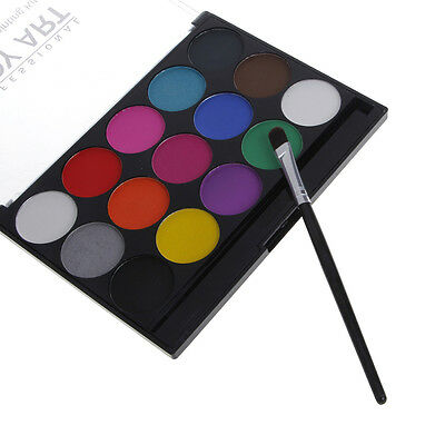 15 Colors Body Face Paint Kit Water Based Painting with Brush Makeup Fancy Dress