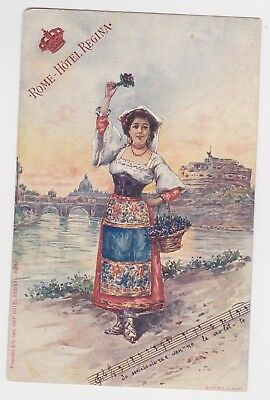 Italy Rome Roma Hotel Regina Song Beauty with Grapes Postcard from 1900's