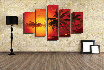 Modern Abstract Large Wall Decor Art Oil Painting Palm Tree On Canvas No Frame