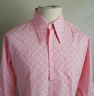 VTg 70s K-Mart ~ Pink Diamond ~ Big Collar Long Sleeve Shirt ~MOD Hippie 16/33