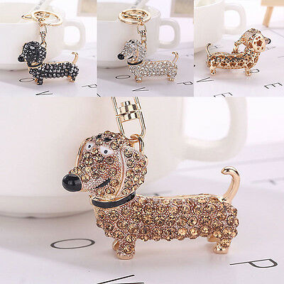 3pcs Gift Bling Crystal Dog Dachshund Keychain Purse Pendant Car Holder Key Ring