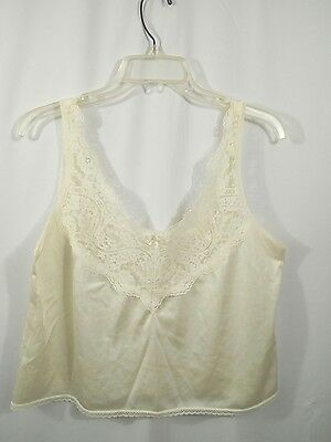 Vintage Womens Adonna 38 Ivory Lace Camisole Lingerie USA 100% Nylon
