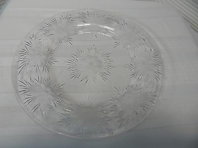 "Vintage! 9"" Cut Glass Flower Plate"