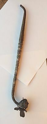 Silver Antique Opium Pipe With Fine Filagree Work And Ornate Butterfly Base