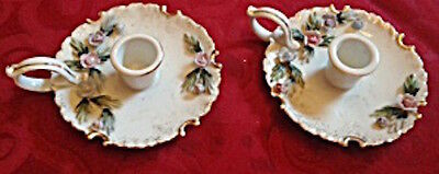 A Pair of Lefton Porcelain Candleholders With Raised Floral Design