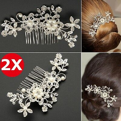 2X Rhinestone Diamante Flower Pearl Hair Clip Comb Bridal Wedding Slide Headband