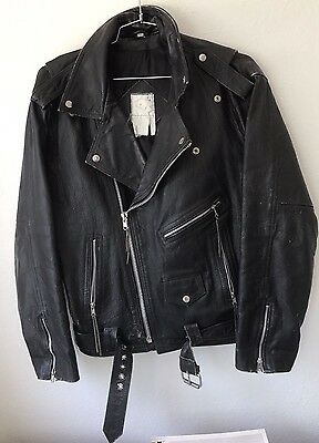 VINTAGE Black Leather Motorcycle Biker Moto Jacket Size Large 44 Appx Made USA