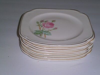 "Edwin M. Knowles Semi Vitreous Square PLates 7"" SEVEN Rose Shabby Cottage"