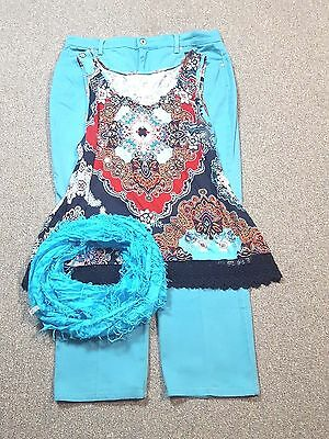 WOMEN'S PLUS SIZE CLOTHING Lot of 3 Size 16 XL Jean Top  Scarf