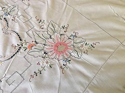 Spectacular Large  Vintage Hand Embroidered Irish Linen Tablecloth