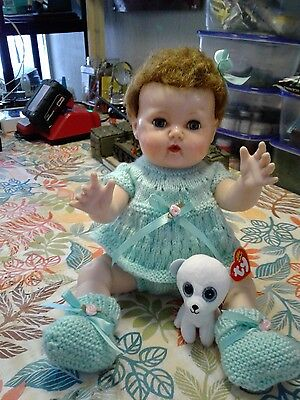 15 Vinyl Tiny Tears Doll in Handmade Knit  Outfit with Crochet Outfit