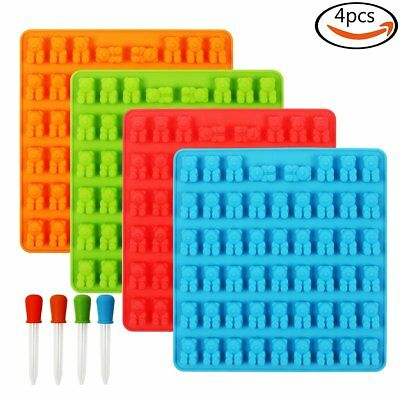 4 Pcs Silicone Gummy Bear Molds with 4 Droppers, 4 Colors