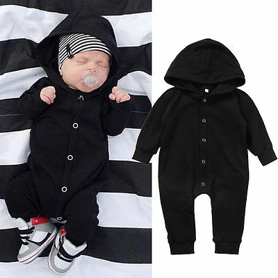 Newborn Infant Baby Boy Girl Kids Hooded Romper Jumpsuit Bodysuit Clothes Outfit