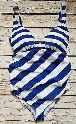 New Ex Branded Maternity Swimsuit in Blue & White Stripe Swimwear