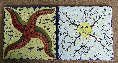 "Pair of Salvador Dali tiles 8""x8Tile"" c1964"