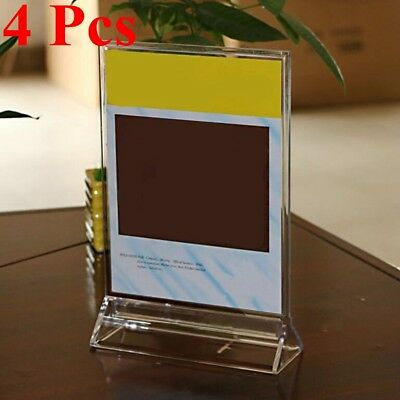 4x A4 Transparent Acrylic Menu Card Holder Poster Leaflet Sign Display Stand