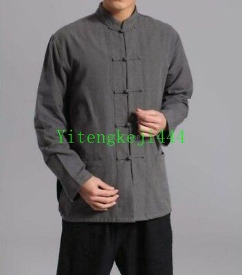 Chinese Cotton Linen Tops Casual Blouse Mens Long Sleeve Kung Fu Shirts Size Jh