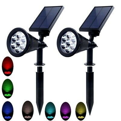 2X Solar Power Garden Lights 7 LED 7 Colors Outdoor Flood Lawn Wall Spot Lamp