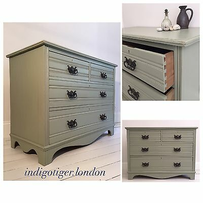 Edwardian Chest of Drawers Hand~Painted Farrow & Ball Shabby Chic French Shape