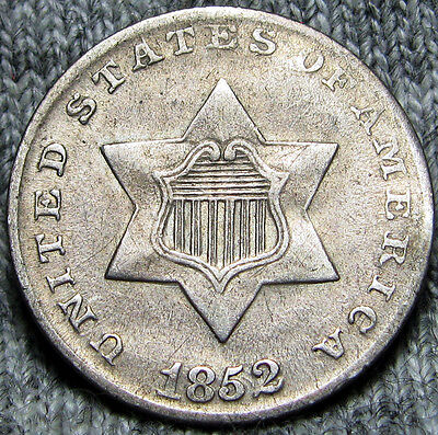 1852 Silver Three Cent Piece 3cp -- TYPE COIN -- #O912