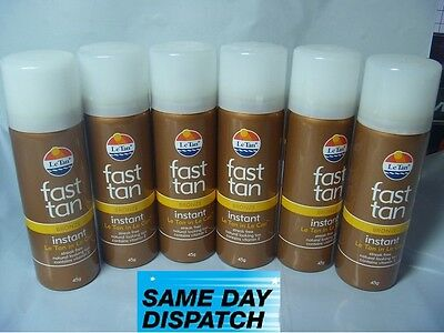3 , 6 BOTTLES  x  LE TAN FAST TAN INSTANT NO STREAK BRONZE 45gm SPRAY LE CAN