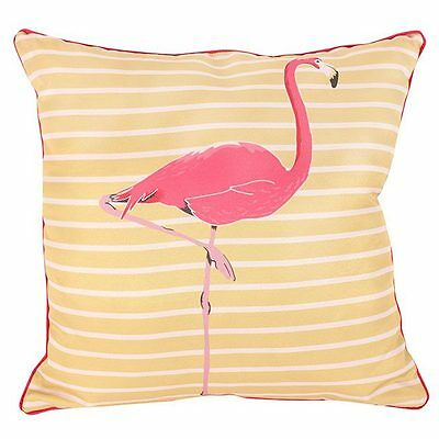 Lovely Lemon Yellow and White Striped Cushion With Large Pink Flamingo 40x40cm