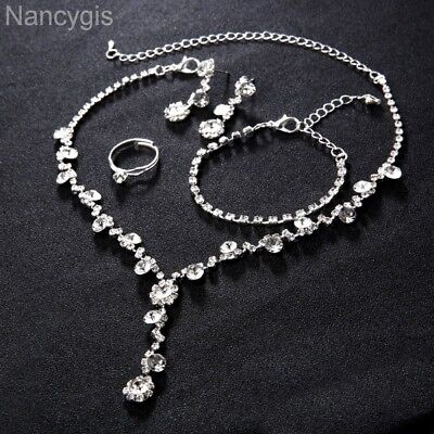 Silver Crystal 4pcs Necklace Bracelet Earrings and Ring Wedding Jewellery Set