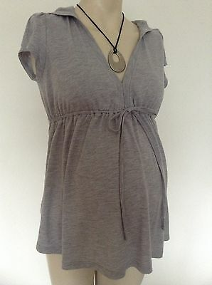 [415] M&S Ltd collection Maternity Grey Short sleeved Hooded Top Size 10