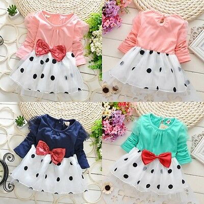 UK Stock Toddler Baby Girls Long Sleeve Dot Bow Party Summer Dress Clothes 6M-4Y