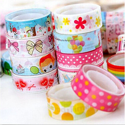10 PCS DIY Decorative Washi Rainbow Sticky Tape Masking Adhesive Paper Scrapbook
