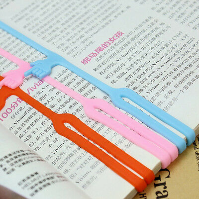 3Pcs  Office Supply  Cute Finger Pointing Funny Silicone Bookmark Book Marker